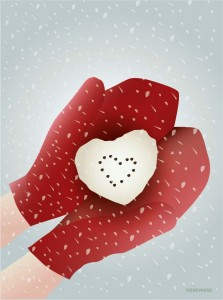 kartka visse - Snow HEART  Greetings card 15x21