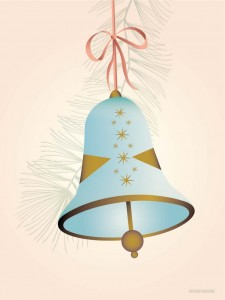 kartka vissevasse CHRISTMAS BELL blue - Greeting card 15x21