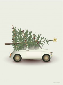 Plakat Vissevasse CHRISTMAS TREE & LITTLE CAR